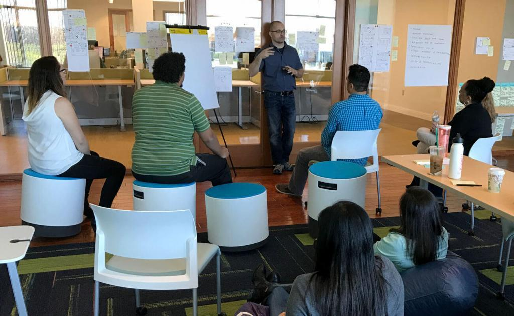 Client stakeholders participate in a UX design workshop
