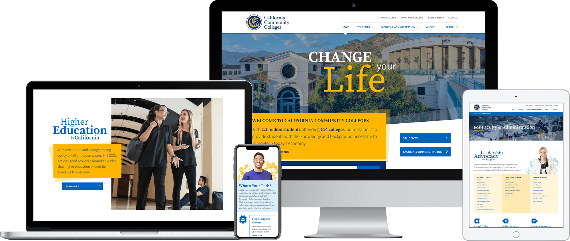CCCCO California Community Colleges responsive website powered by Sitecore.