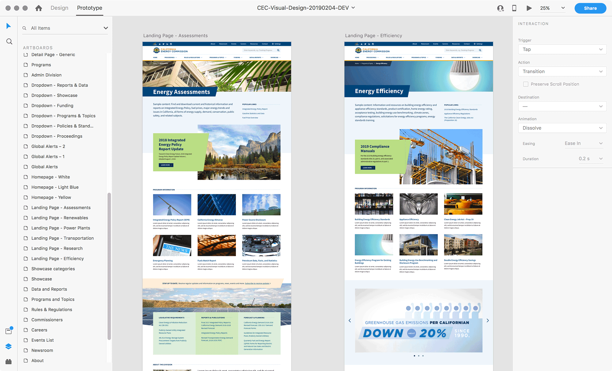 Adobe XD file for the California Energy Commission website