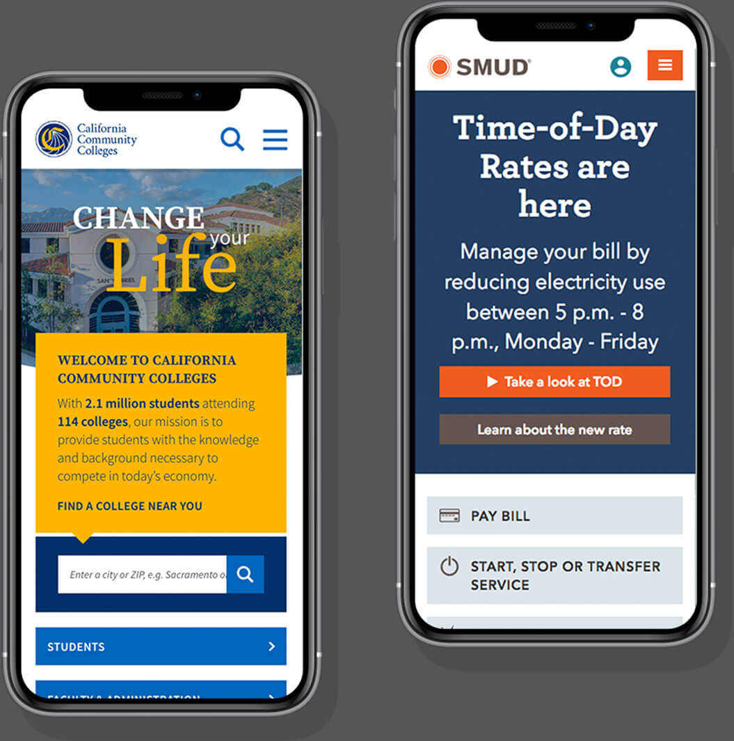 Mobile websites for California Community Colleges and Sacramento Municipal Utility District