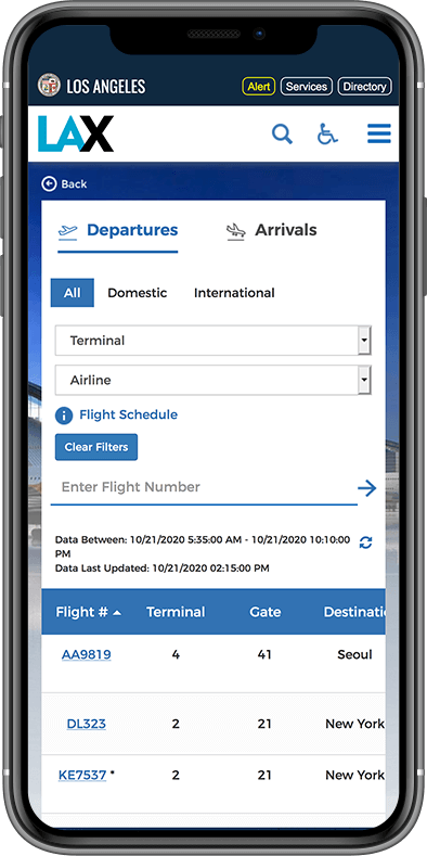 LAX website on mobile device