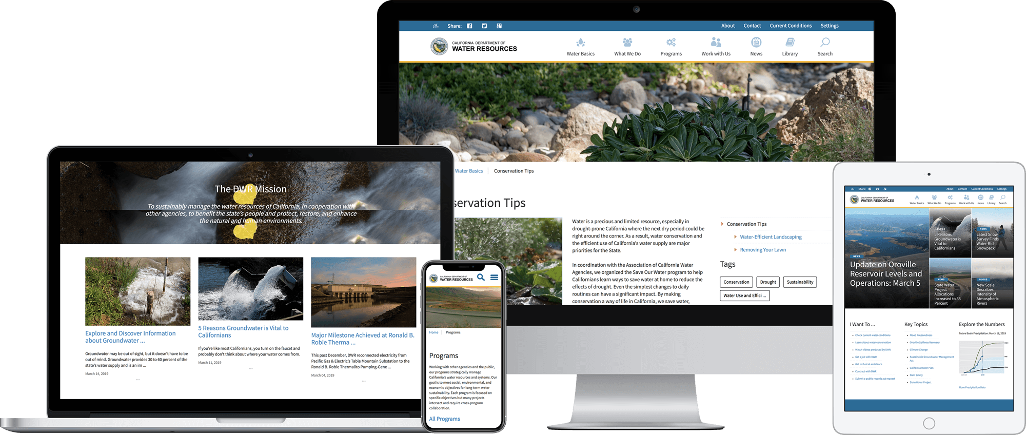Responsive Sitecore website for California Department of Water Resources.