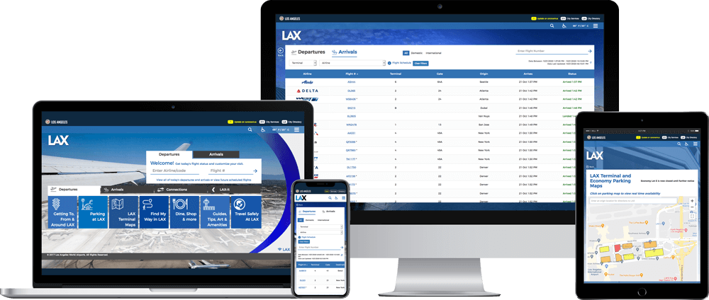 LAX website on multiple devices