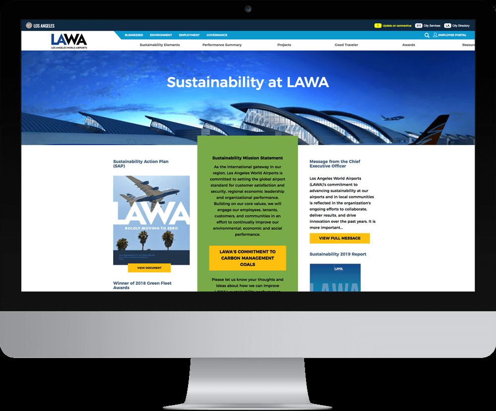 LAWA website on a desktop computer