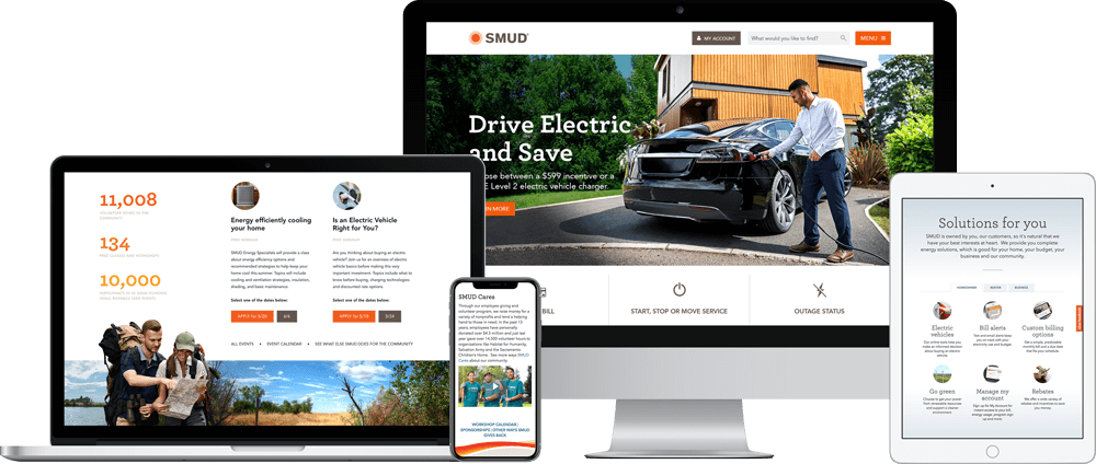 The SMUD responsive website redesign as seen on multiple devices