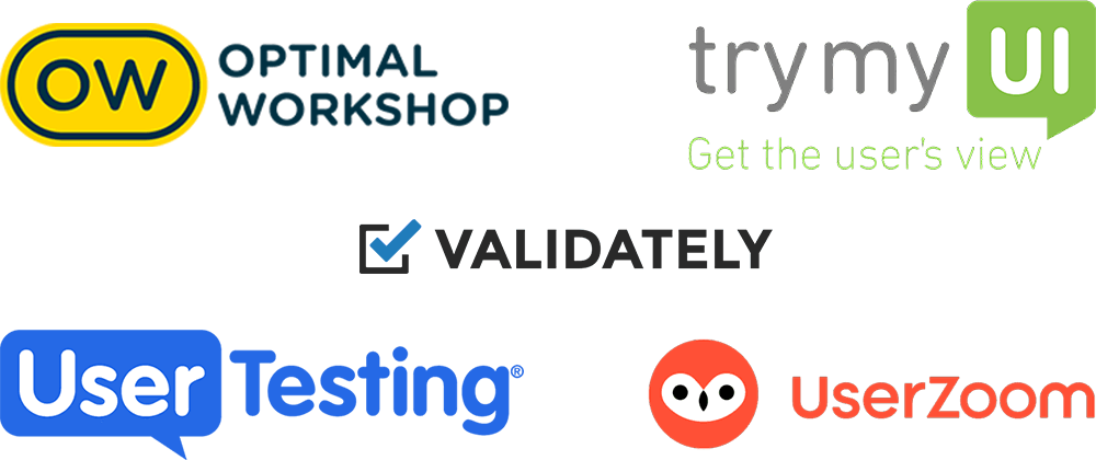 UX tools logotypes: Optimal Workshop, Try My UI, Validately, User Testing, User Zoom.
