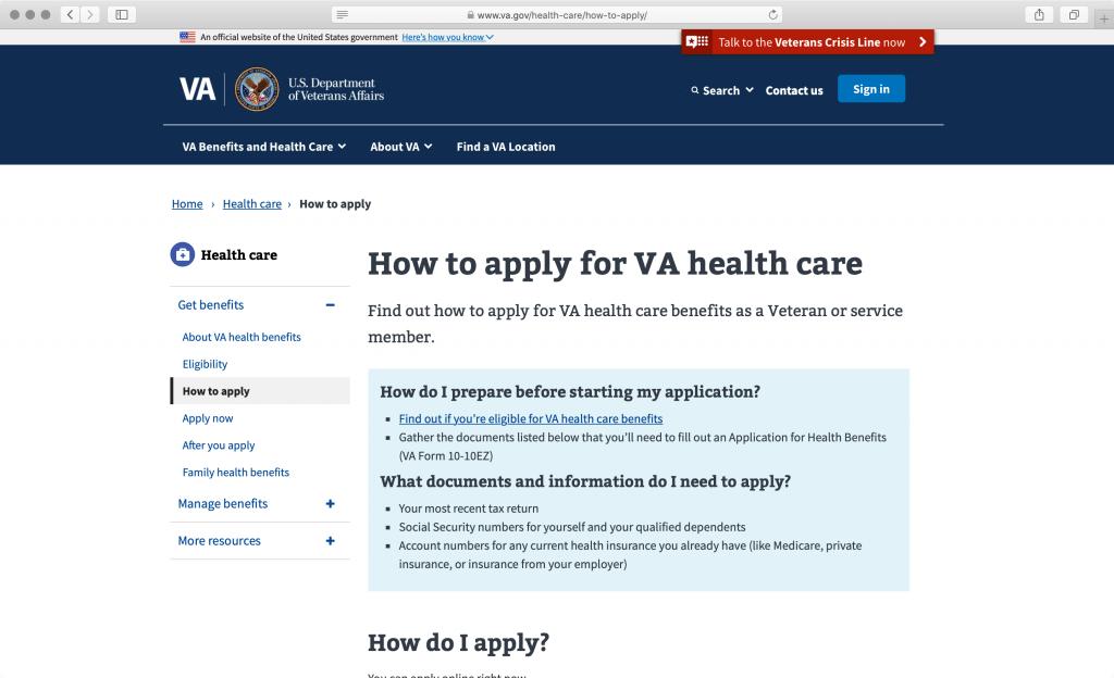 va.gov screenshot