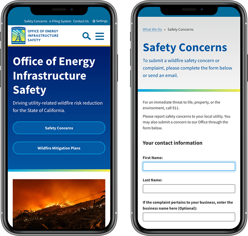 Mobile device mockup for the Safety Complaints user flow.