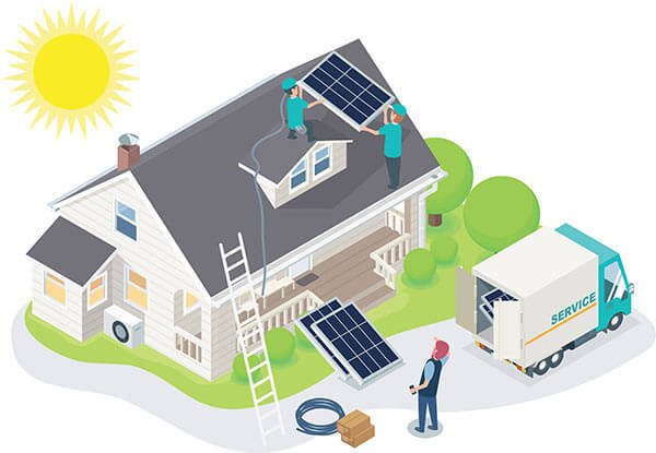 The illustration of an energy efficient home