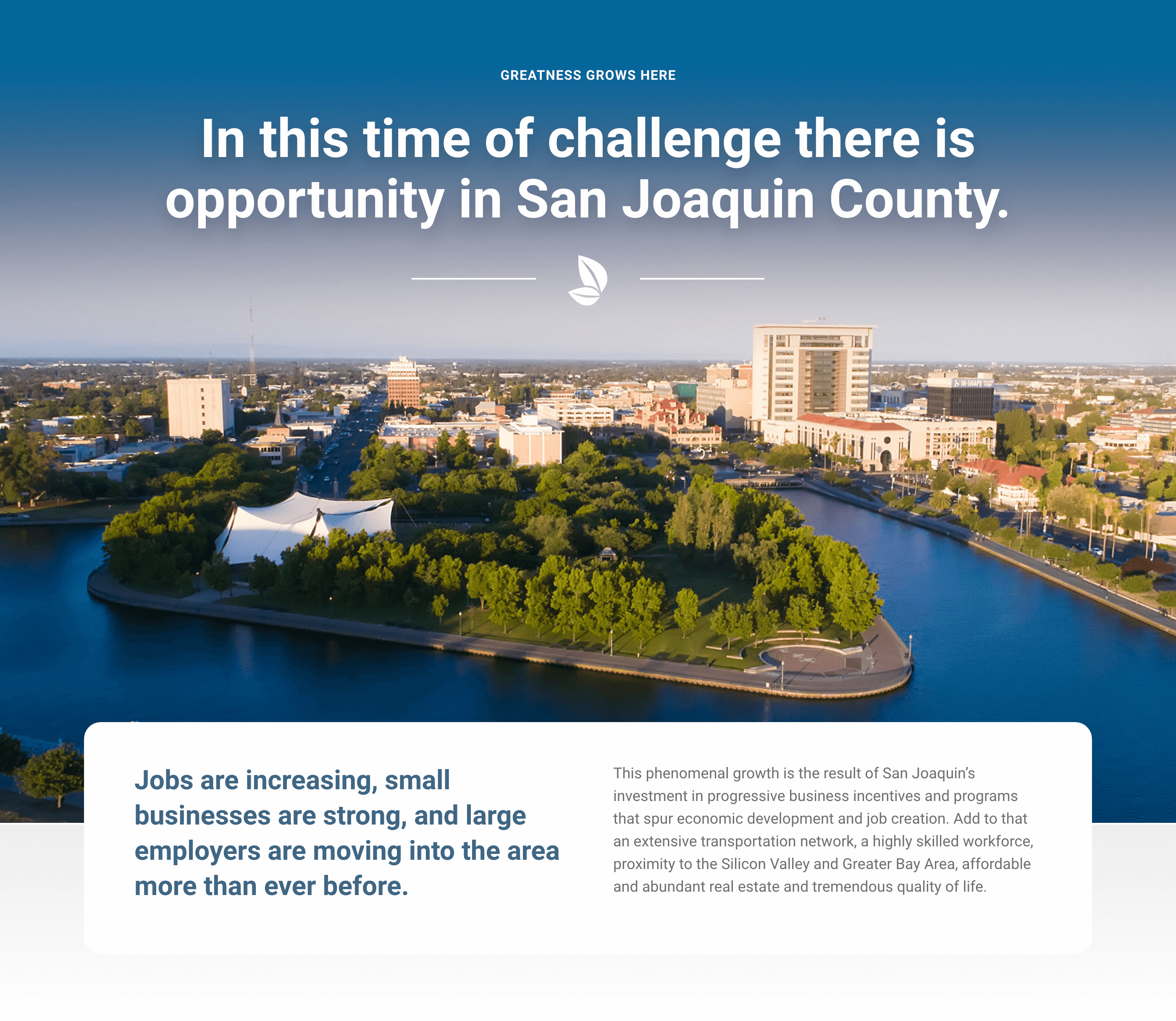 Art direction for the San Joaquin website homepage
